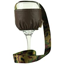 """Caroline Hallak-Beverly Hills Espresso High End Wine Holders """"Set of 2"""" with Faux Leather Brown and Camouflage Green Ribbon, Small"""