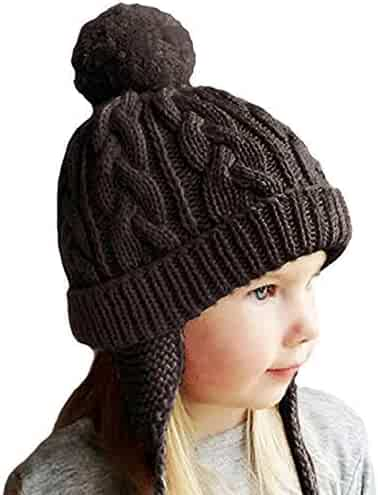 f9810d122de Crochet Earflap Pilot Hats Rabbit Ears Beanie Cap Winter Warm Knit Caps for Toddlers  Baby Girls