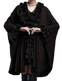 Helan Women's Rabbit Fur Ball Knitting Fashion Cape Coat