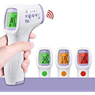 【Limited time low price promotion】IR Infrared Digital Non-Contact Thermometer Gun with Three Color LCD Screen for Adult and Baby Forehead, Ear and Body Temperature with Fever Alarm and Memory Function