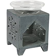 Black Soapstone Aroma Oil Diffuser Burner Home Décor Accessories by Store Indya