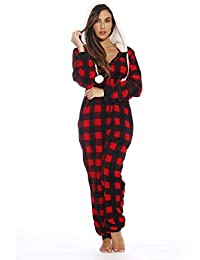buffalo plaid adult onesiesherpa lined hoodyone piece pajamas