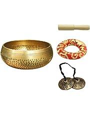 Tibetan Singing Bowl Set,Chakra Healing Crystals Set Handcrafted Meditation Sound Bowl Antique Bronze Mantra Engravings Singing Bowl for Healing,Yoga,Meditation,Mindfulness and Relaxation