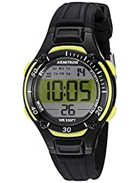 Armitron Women's 45/7062LGN Lime Green Accented Digital Chronograph Black Resin Strap Watch