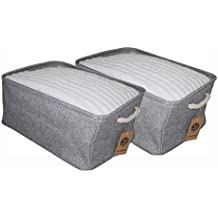 2 PACK ECOHIP Storage Basket or Cloth Storage Bin, Collapsible & Foldable Fabric Cube Storage Bins, Fabric Storage Cubes, Laundry Basket Grey