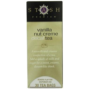 Stash Tea Decaf Vanilla Nut Creme Black Tea, 30 Count Tea Bags in Foil (Pack of 6)