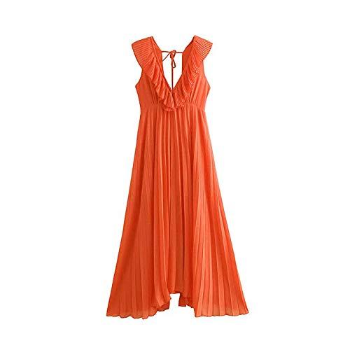 orange Ladies Deep V Neck Ruffles Sleeveless Pleated Long Dress Summer Holiday High Waist Slim Fairy Dress,orange,S