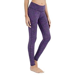 QUEENIEKE Women Yoga Leggings Workout Tights Running Pants Size L Color Space Dye Purple