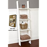 Step Ladder Linen Bathroom & Bedroom White Wooden Furniture with free BONUS eBook : Home Decorating Tips!