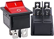 Twidec/2Pcs AC 20A/125V 15A/250V DPST 4 Pins 2 Position ON/Off Red LED Light Illuminated Boat Rocker Switch To