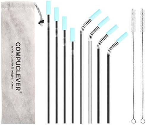 Reusable Stainless Steel Straws Set of 8 FDA Appproved Length 8.5'' 9'' 10'' 10.5'' Diameter 0.32'' Metal Drinking Straws 2 Cleaning Brushes 8 Silicone Tips and Pouch(4 Bent 4 Straight)