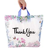 """Floral Thank You Plastic Bags 50 Pack 18"""" x 18"""" With Soft Loop Handle Thank You Shopping Bags"""