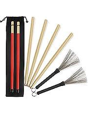 5A Drumsticks 2 paar klassieke hoogwaardige esdoorn drumsticksets met intrekbare draaddrumborstel en professionele nieuwe stijl bundeldrum stick Dowel-drumsticks plus waterdichte tas