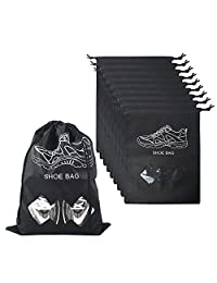 KinHwa Shoe Bag Non-Woven Drawstring Travel Shoe Storage Bag with Transparent Window Large Capacity for Women Men - Set of 10 (Black)