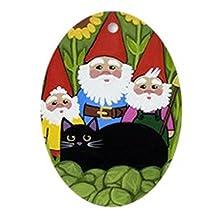 CafePress - Garden Gnomes & Black Cat - Oval Holiday Christmas Ornament