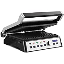 Costway Electric Indoor Grill & Searing Grill 1500W Smokeless Adjustable Temperature and Positions Non-stick Cooking Surface Panini Press Sandwich Maker Grill Griddle with Removable Plate & LCD Touch Display