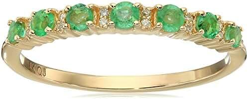 0.34 Carat Genuine Emerald & White Diamond 14K Yellow Gold Ring