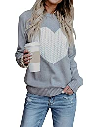 Women's Pullover Sweaters Long Sleeve Crewneck Cute Heart Knitted Sweaters