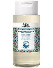 REN Clean Skincare Glow Tonic - Cruelty Free & Vegan Pore Reducing Toner with Resurfacing AHAs & BHAs - for Daily Facial Brightening, Exfoliate, Hydrate & Even Skin Tone