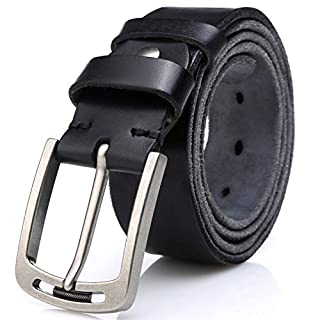 Men's 100% Italian Cow Leather Belt Men With Anti-Scratch Buckle,Packed in a Box (Black-1001,125cm (Pant Size:38-42))