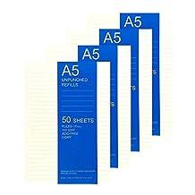A5 Ruled/Lined Loose Leaf Filler Paper For Ring Binder Notebook Planner Filofax, Carpe Diem, Kikki K - Unpunched Refills, 50 Sheets x 4 Packs, 200 Sheets, 400 Pages, 100gsm, Ivory