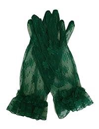 Fancy Sheer Lace Wedding Party Vintage Dress Gloves Wrist Length (Blacknish Green)