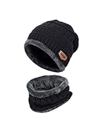 Kids Winter Knitted Beanie Hat and Scarf Set with Fleece Lining for boys girls