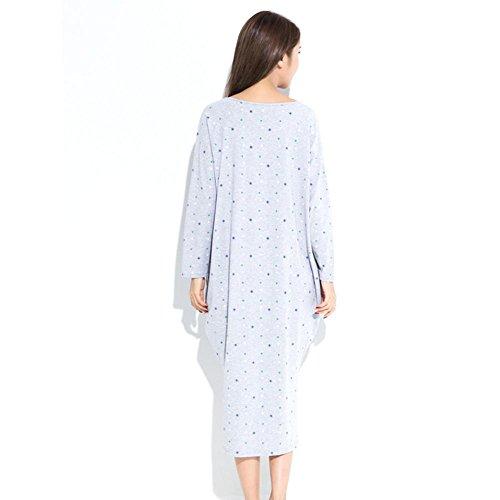 DMMSS Ms. Pyjama Im Frühjahr Und Herbst Baumwolle Mit Langen Ärmeln Nachthemd Schönen Großen Meter Langen Abschnitt Trainingsanzug Overallrock