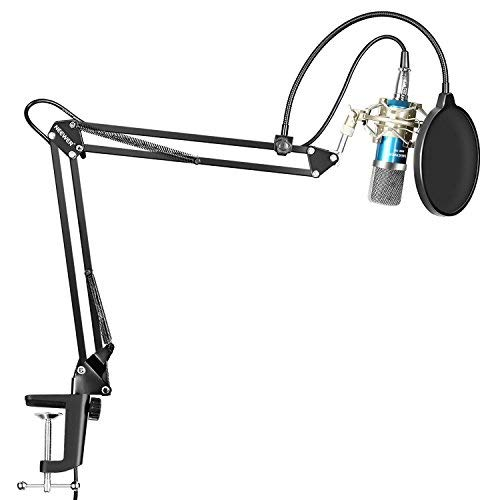 (Neewer Professional Studio Broadcasting Recording Condenser Microphone & NW-35 Adjustable Recording Microphone Suspension Scissor Arm Stand with Shock Mount and Mounting Clamp Kit, Blue )