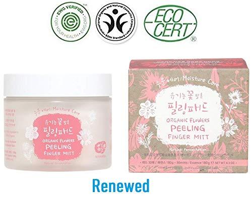 Flower Mitt (Whamisa Organic FLOWERS Peeling Finger Mitt - Moisture Care/Serum 150ml, 25 mitts - Naturally fermented, EWG Verified)