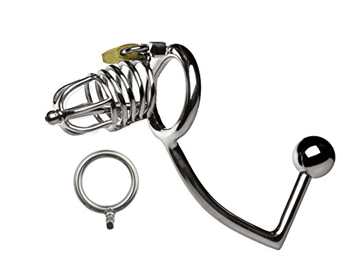 ccTina 2107 New Medium Male Stainless Steel Cock Penis Cage Catheter Wit Anal Hook Anus Plug Butt Beads Chastity Belt BDSM Sex Toy A159 1pcs by ccTina