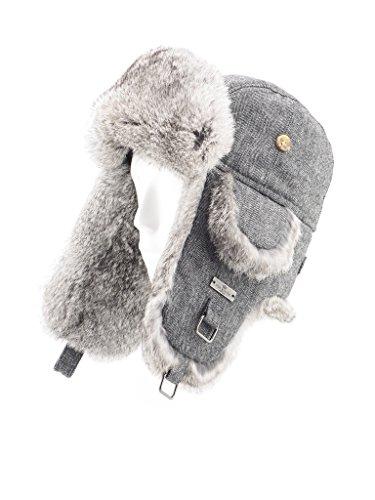 Aviator Bomber Hat (FUR WINTER Wool Blend Herringbone Rabbit Fur Aviator Bomber Trapper Hat GRY M/L)