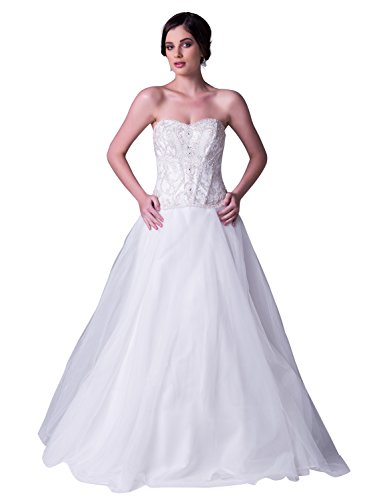 JOYNO BRIDE Women Ivory Strapless Beading Tulle A line Wedding Dress Gowns (20, White)