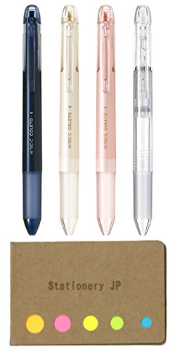 Pilot Hi-tec-c Coleto 4 Color Multi Pen Body Component, Basic & Pearl Pattern, Rubber grip, 4-pack, Sticky Notes Value Set