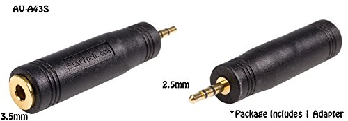 2.5mm Male to 3.5mm Female Stereo 3-Position Audio Adapter AV-A43S Gold