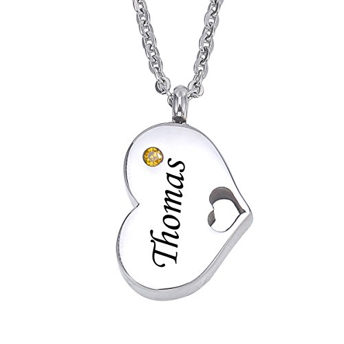 (HooAMI Personalized Birthstone Heart Necklace with Birthstone - Stainless Steel Double Heart Cremation Jewelry)