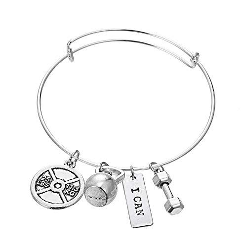 """Luvalti """"I Can"""" Bangle Pendant Bracelet - Best Motivational Gift - Weight Plate Barbell Dumbbell Pendant Bracelet"""