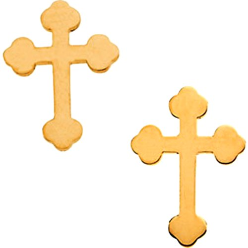 Girl's Cathedral Cross Stud Earrings, 14k Yellow Gold (11x8MM) by The Men's Jewelry Store (for KIDS)
