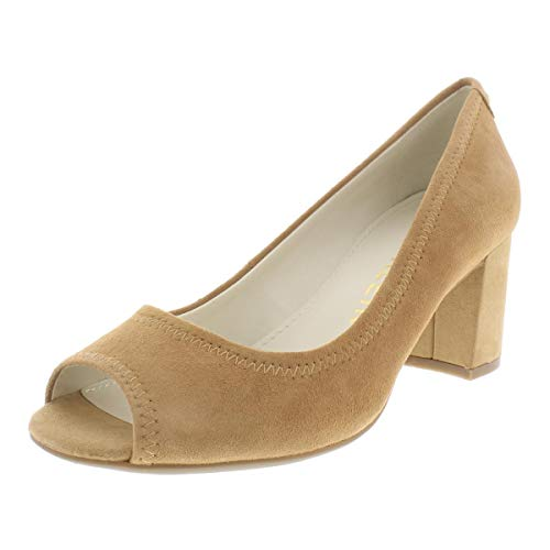Anne Klein Womens Meredith Suede Peep-Toe Dress Pumps Brown 5 Medium (B,M)