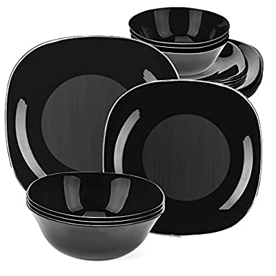 DANMERS 18-Piece Dinnerware Set Black Kitchen Dinner Set Service for 4, Square Glass Plates Bowls Set Crack Resistant - ✅【18 PCS ROUND DINNER SET】service for 6, 11-inches dinner plate, 8-inch bread & butter plate, and 6-inch salad bowl. ✅【BREAK&CRACK RESISTANCE】made of STRONG GLASS, lightweight yet durable. No scratch left even rigid handling. Safe for kids to use. ✅【HOME SAFEGUARD】Lead free, dishwasher microwave and disinfection cabinet safe, stain resistance, say goodbye to germs and stains. - kitchen-tabletop, kitchen-dining-room, dinnerware-sets - 41r  ErYzYL. SS400  -