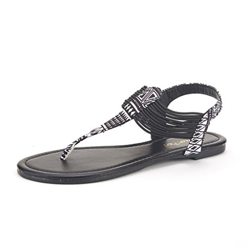 DREAM PAIRS Spparkly Women's Elastic Strappy String Thong Ankle Strap Summer Gladiator Sandals Black Multi Size 8.5