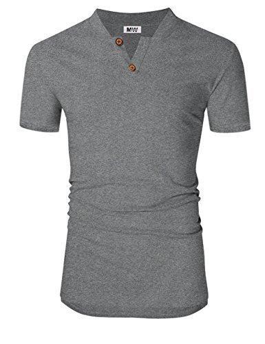 Fashion Linen - MrWonder Men's Casual Linen and Cotton V Neck Short Sleeve Henley T-Shirts Grey M