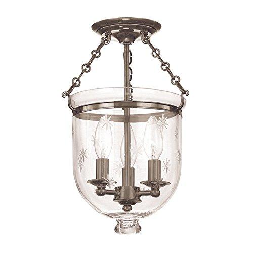 251 Hampton 3 Light - Hudson Valley 251-HN-C3, Hampton Glass Semi Flush Ceiling Light, 3 Light, 300 Watts, Nickel