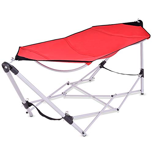 Giantex Portable Folding Hammock Lounge Camping Bed Steel Frame Stand W/Carry Bag (Red) ()