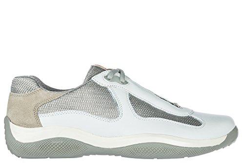 Prada Scarpe Sneakers Uomo in Pelle Nuove Nevada Bianco