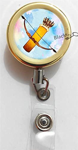 Gold and Holo Badge Reel Double Bow