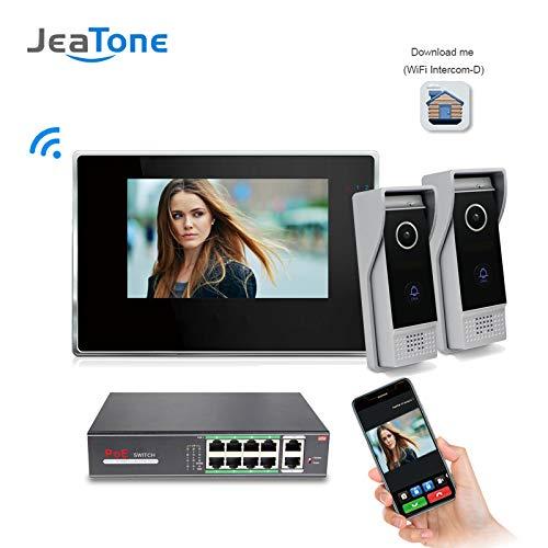 Jeatone 7 inch Color LCD Monitor WiFi IP Video Door Phone Doorbell Intercom System IR-Cut Night Vision Speakerphone Camera 1 Monitor 2 Camera + POE Function