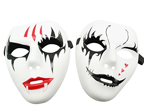 [Fashion Jabbawockeez Cosplay Masks for Halloween Masquerade Party Lovers' Couple Set Pack of 2 (Style] (Cool Face Painting Costumes)