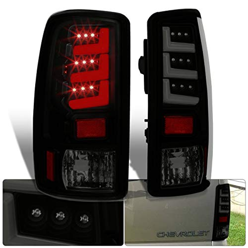 Ajp Distributors LED Neon Tube Bar Streak Tail Lights Brake Lamps For Chevy Gmc Suburban Yukon Tahoe 2000 2001 2002 2003 2004 2005 2006 00 01 02 03 04 05 06 (Black Housing Smoke Lens White Tube)