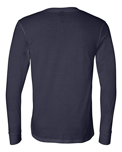Canvas for Men's Long-Sleeve soft jersey Henley, NAVY, X-Large